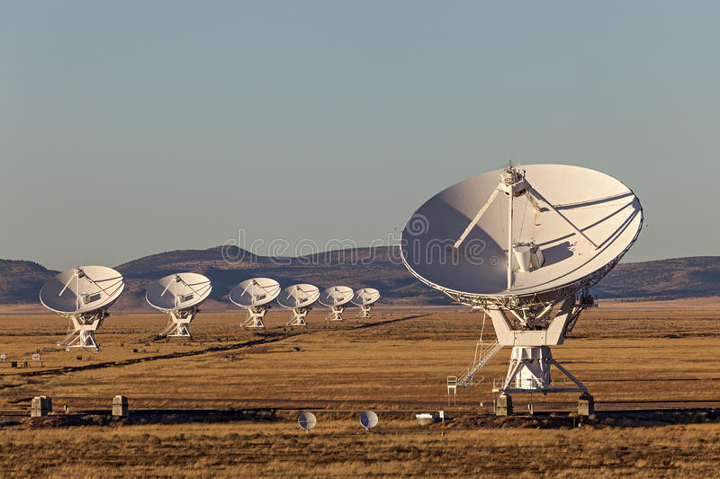 Very Large Array Radio Telescope. Very Large Array satellite dishes at Sunset in New Mexico, USA stock photography