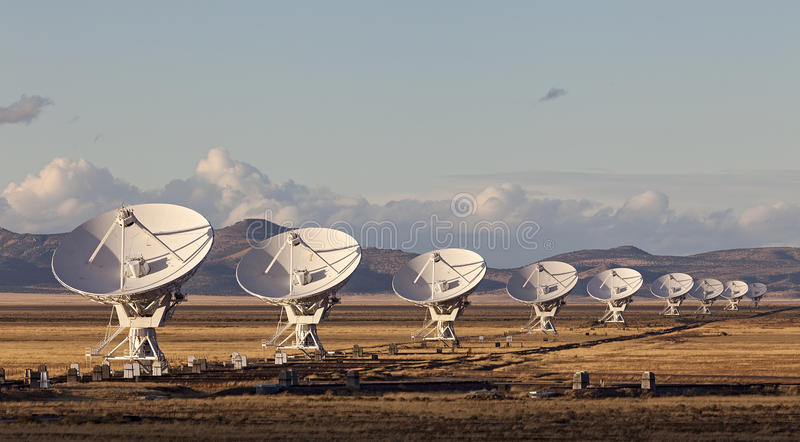 Very Large Array Radio Telescope. Very Large Array satellite dishes at Sunset in New Mexico, USA royalty free stock photos