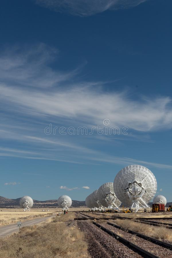Very Large Array rear view of radio astronomy observatory dishes, science technology. Copy space, vertical aspect stock images