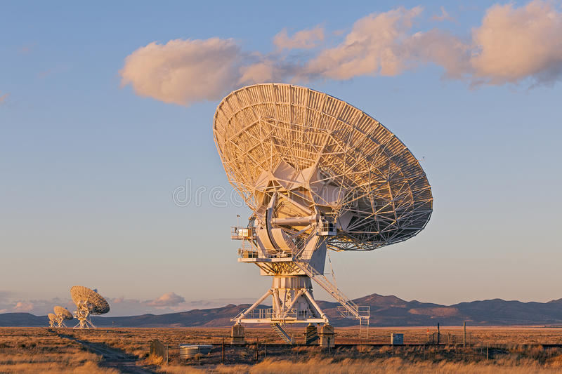 Very Large Array Satellite Dishes. At Sunset in New Mexico, USA stock photos