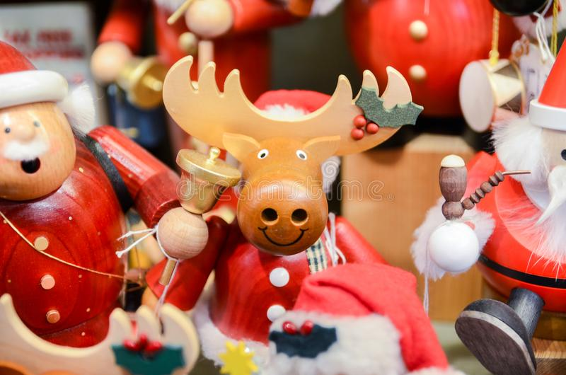 Very large choice of wooden toys at Christmas store royalty free stock images
