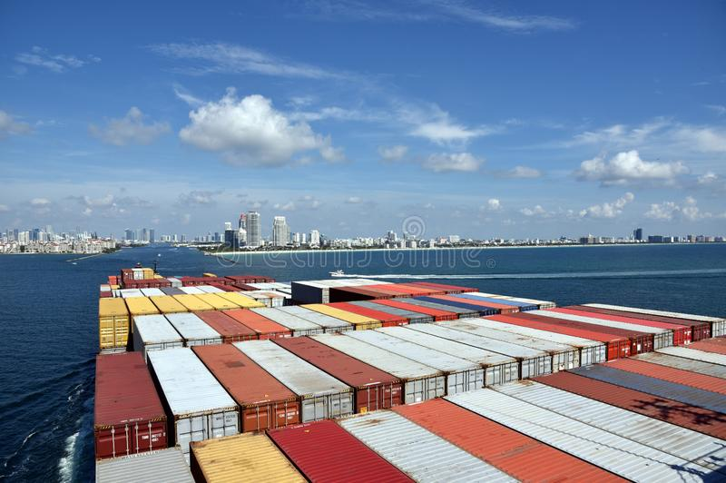 Very large container ship arriving to the port of Miami.. royalty free stock image