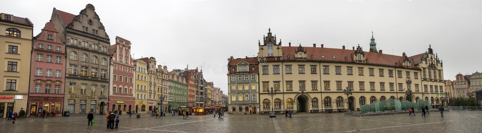 Very large panoramic view of Market Square in Wroclaw, att cold winter day. Poland. WROCLAW, POLAND - DECEMBER 13, 2019: Very large panoramic view of Market stock images