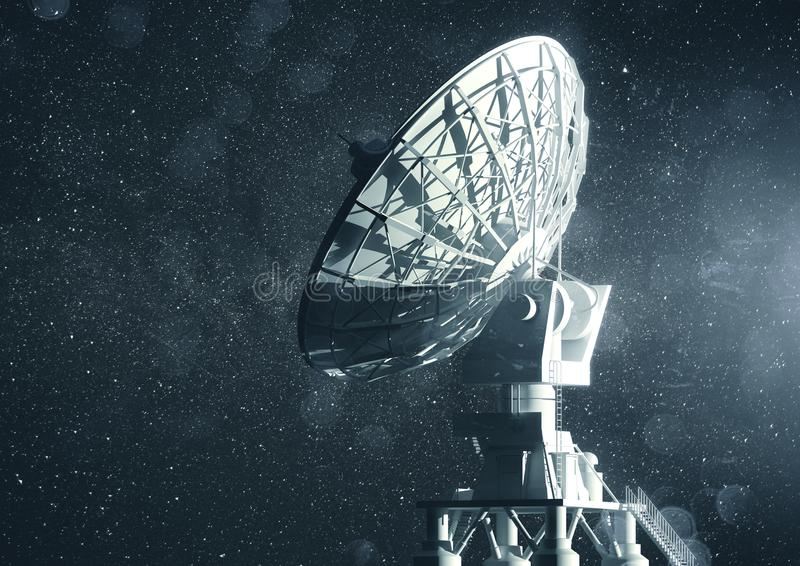 Radio Telescope Communications. A very large radio telescope searching for information in space. 3D illustration stock photos