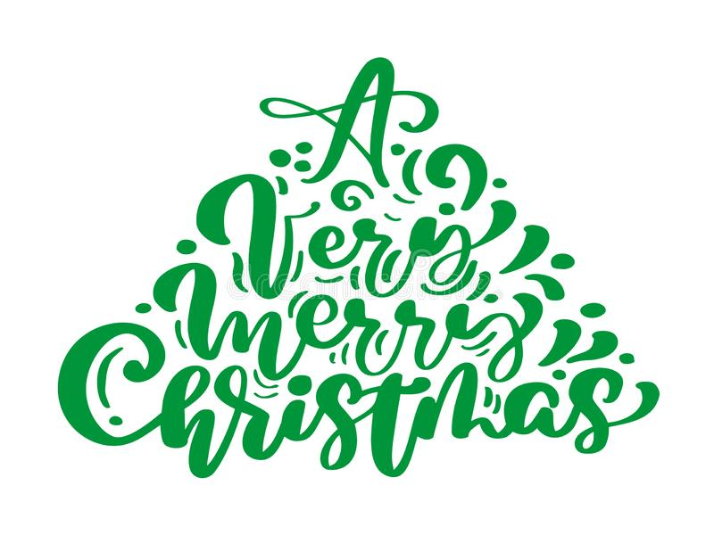 A Very Merry Christmas green vintage calligraphy lettering vector text in form of fir tree. stock illustration