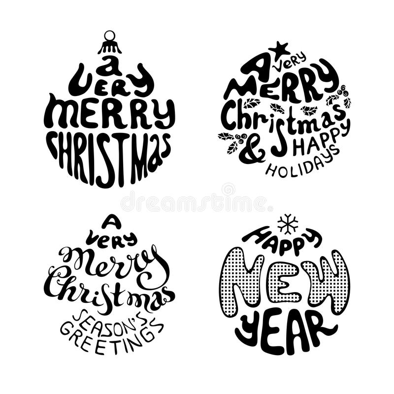 Download A Very Merry Christmas And Happy New Year Stock Vector