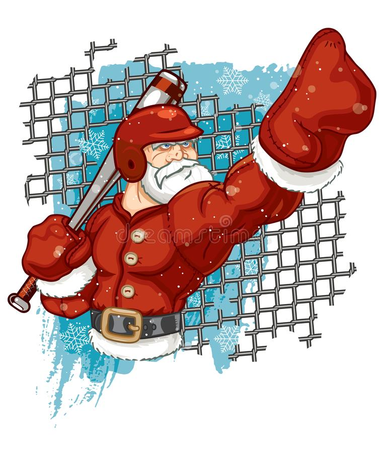 Santa Claus Baseball Player Calling His Shot. A very muscular and athletic Santa Claus playing baseball and calling his shot against a chainlink fence and snowy stock illustration