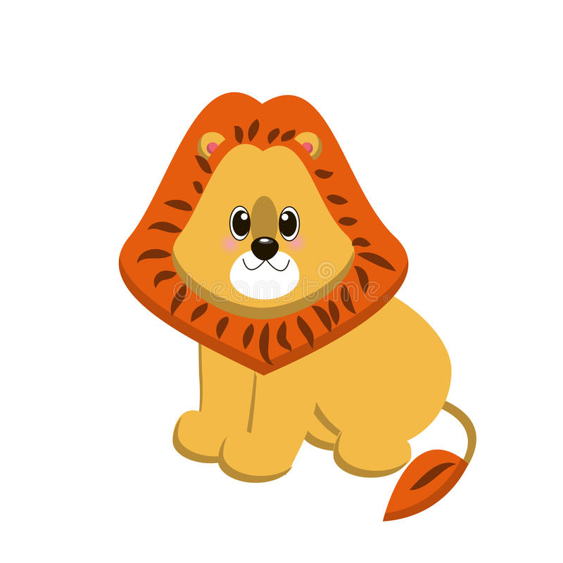 Very nice and cute character lion. Vector drawing of the baby lion royalty free illustration