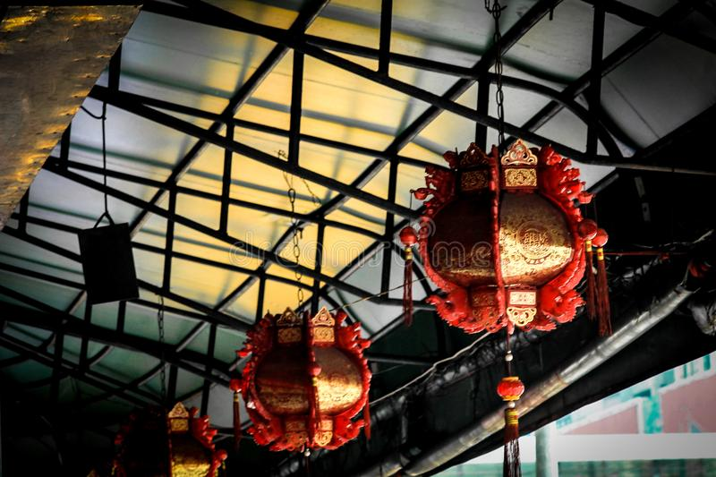 Traditional chinese decorative red and golden lantern royalty free stock photo