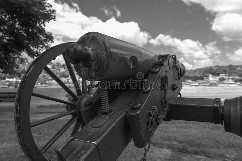 Very old artillery canon in a park stock images