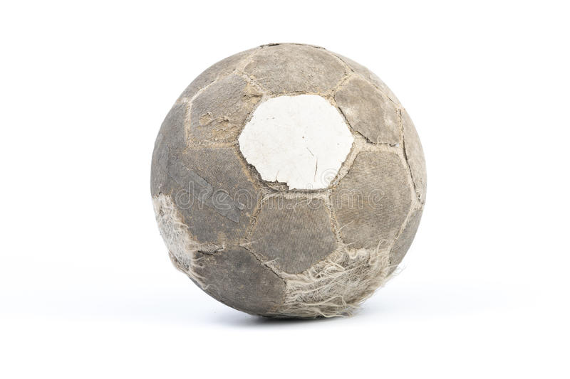 Very old ball for soccer Isolated stock photography
