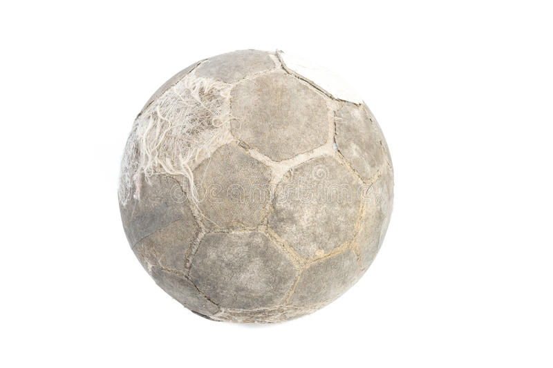 Very old ball for soccer Isolated royalty free stock photos