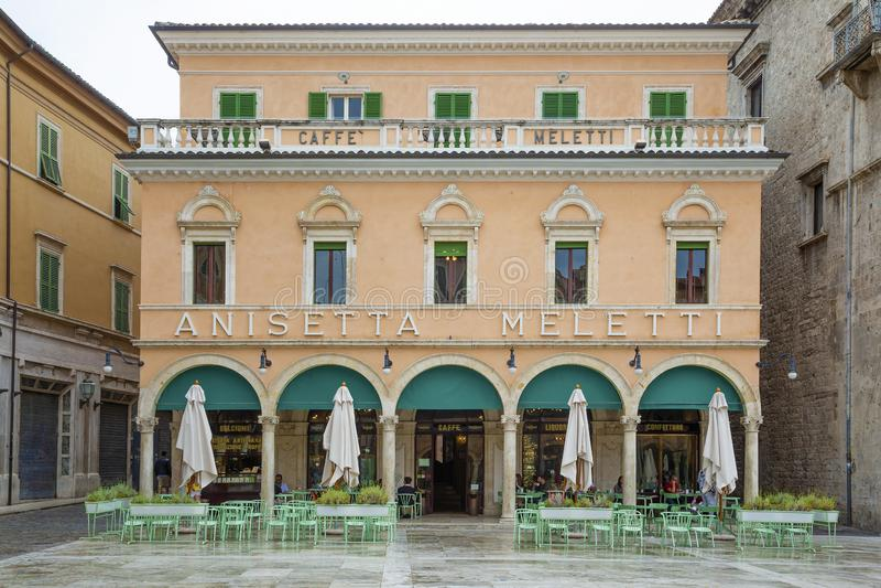 Very old bar in central Ascoli Piceno stock photo