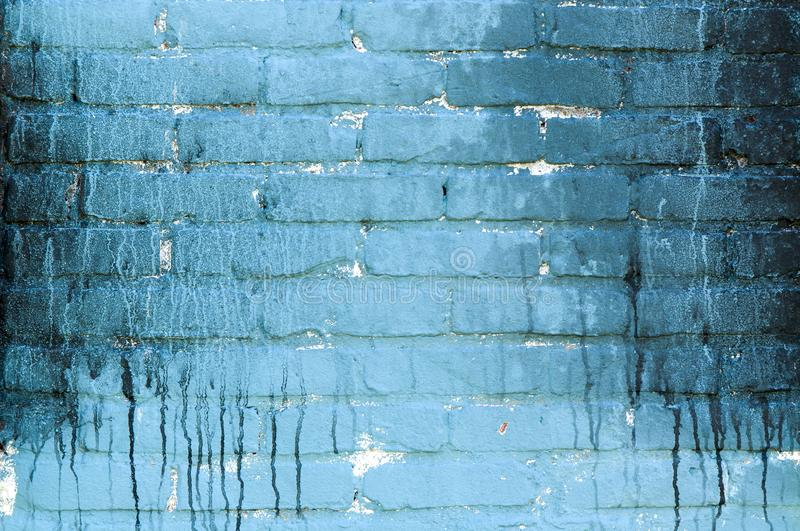 Old blue painted wall with dirt dripping down royalty free stock photos