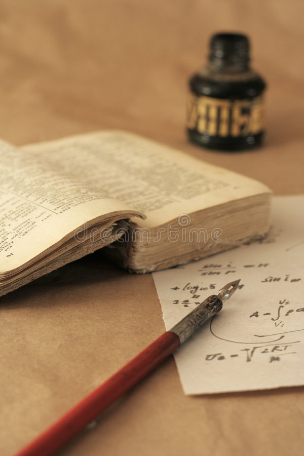 Download Very Old Book And Crow Quill Stock Photo - Image: 1597804