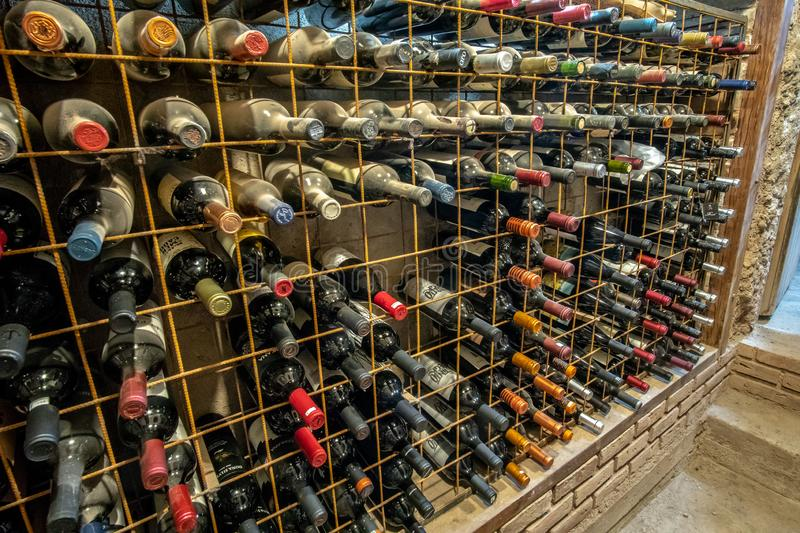 Large wine collection in cellar stock photos