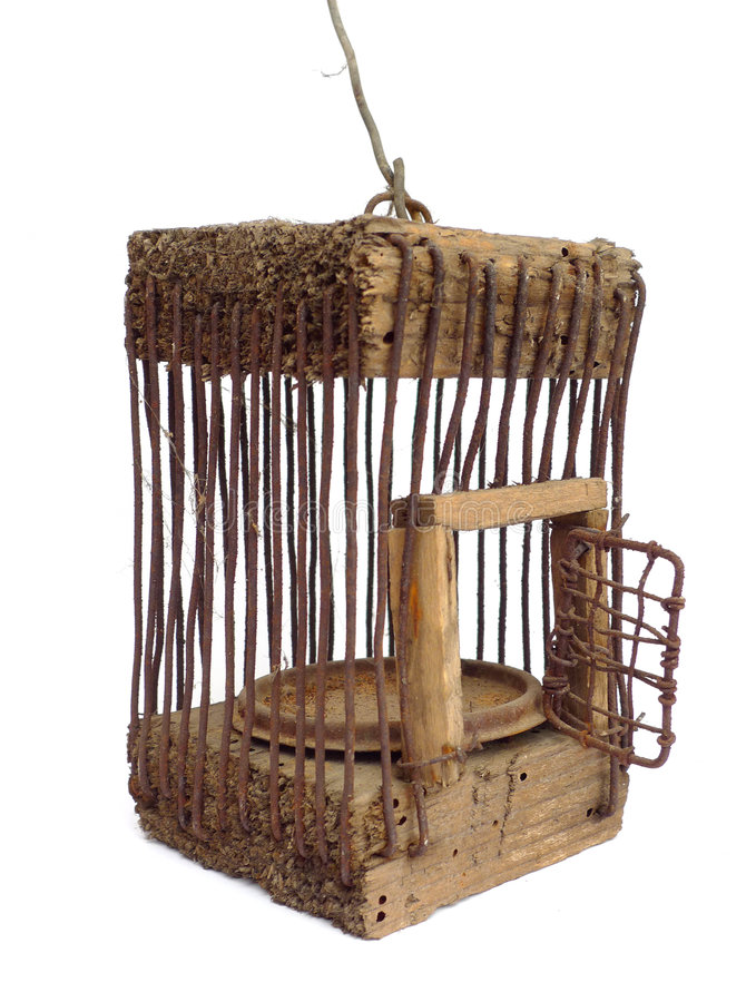 Very Old Cage Open Stock Image