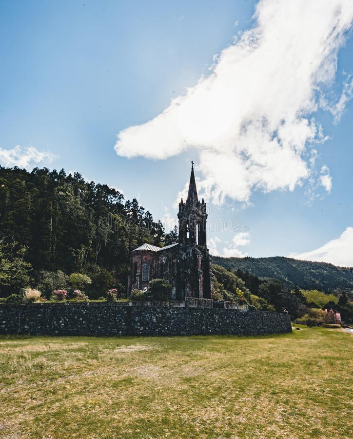 Very old church near crater lake Furnas on Sao Miguel Island named Chapel of Nossa Senhora das Vitorias. Perish of. Furnas. On the largest volcanic island in royalty free stock images