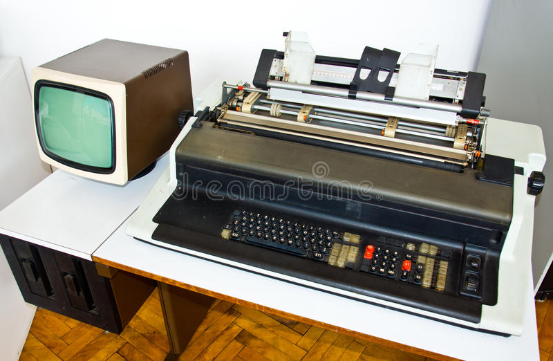 Very old computer stock photo