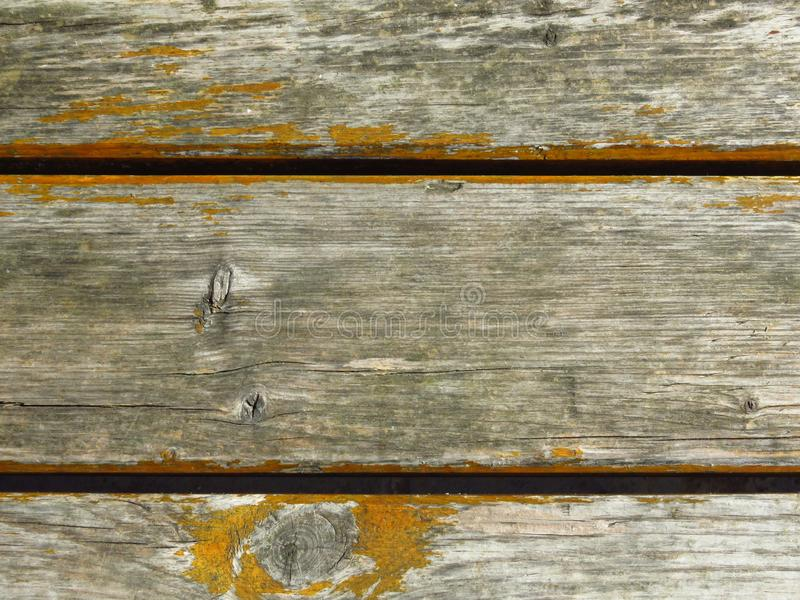 Very old cracked grey wood planks and peeled yellow colour. Shelled ochre paint / dye. Rustic / antique appearance. royalty free stock photo