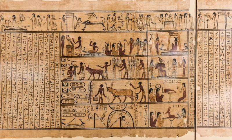 Egyptian hieroglyph`s character`s on papyrus stock photos