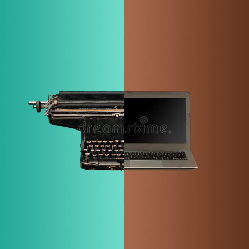 Very old fashion typewriter and laptop stock image