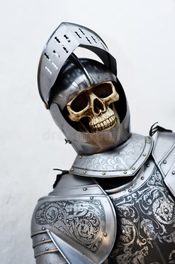 Very old Knight. Skeleton in a Knights Armor royalty free stock photos