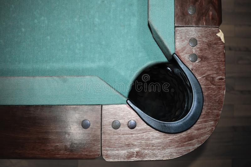 Pool table background. Very old part of green with wooden edges and black ball hole pool table background stock photography