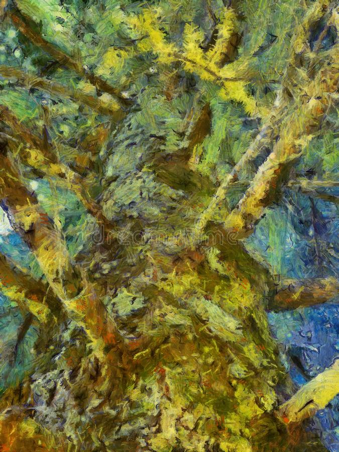 A Very Old Pine Tree, Semi Abstract Oil Painting Style stock photo