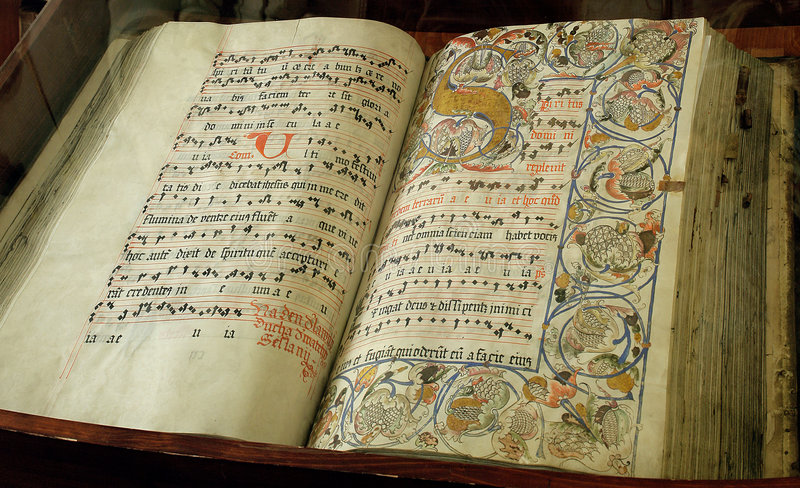 Very old religious book stock photo