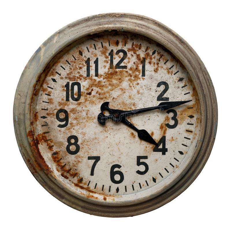 Very old round wall clock royalty free stock photo