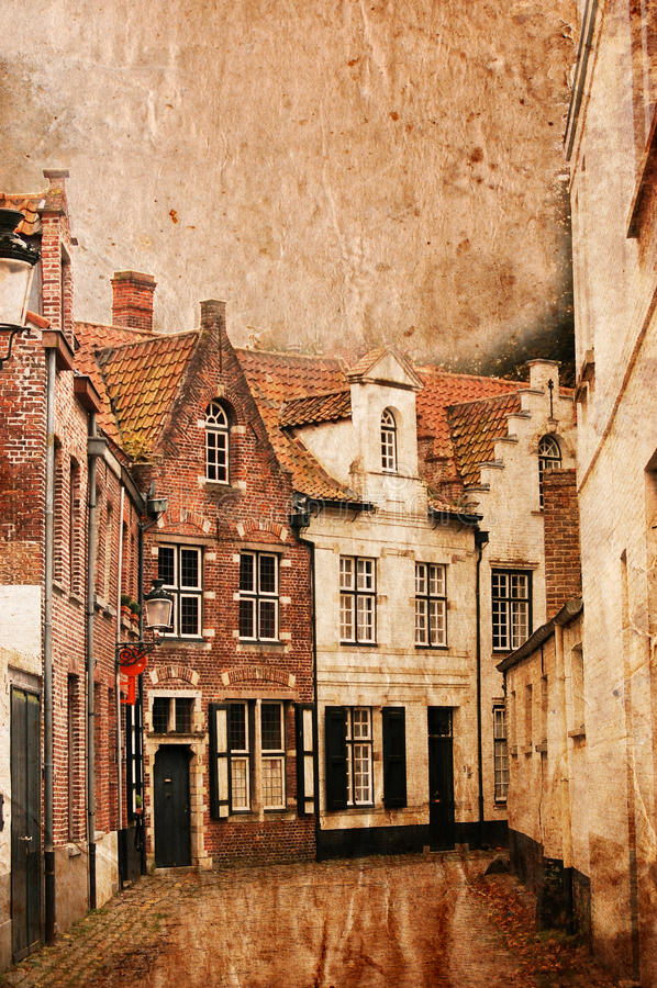 Download Very Old Small Streets Of Brugge - Vintage Style Stock Photo - Image of belgium, vintage: 10989838