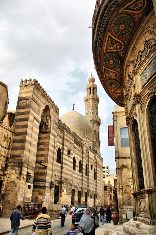 Islamic egypt cairo street view. A very old street in cairo in egypt called Moez street that has many old mosques and museums