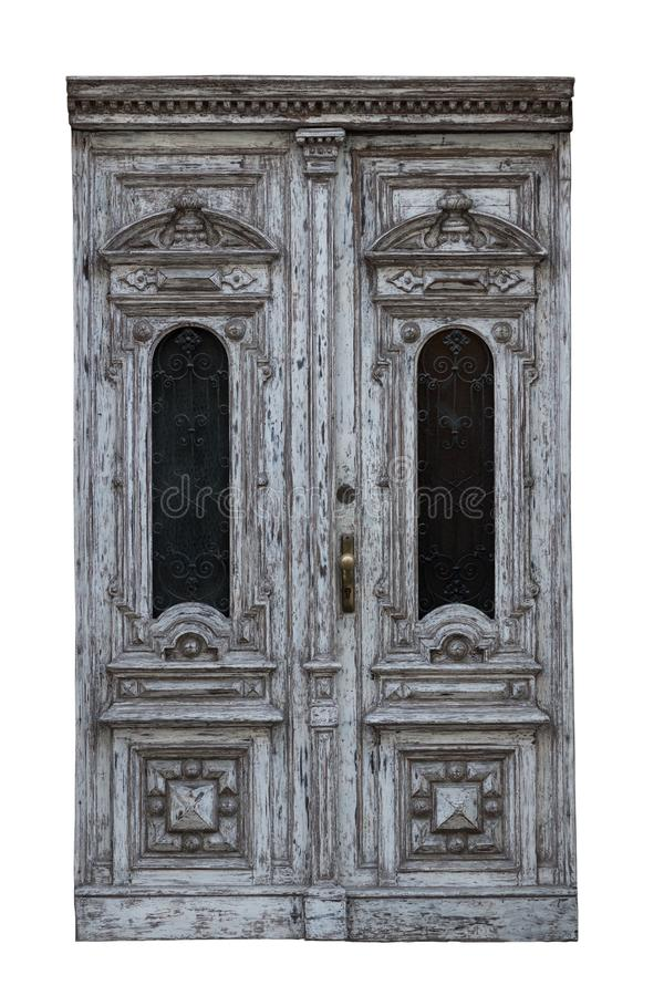 Very old vintage rustic wooden doors isolated on white background stock photography