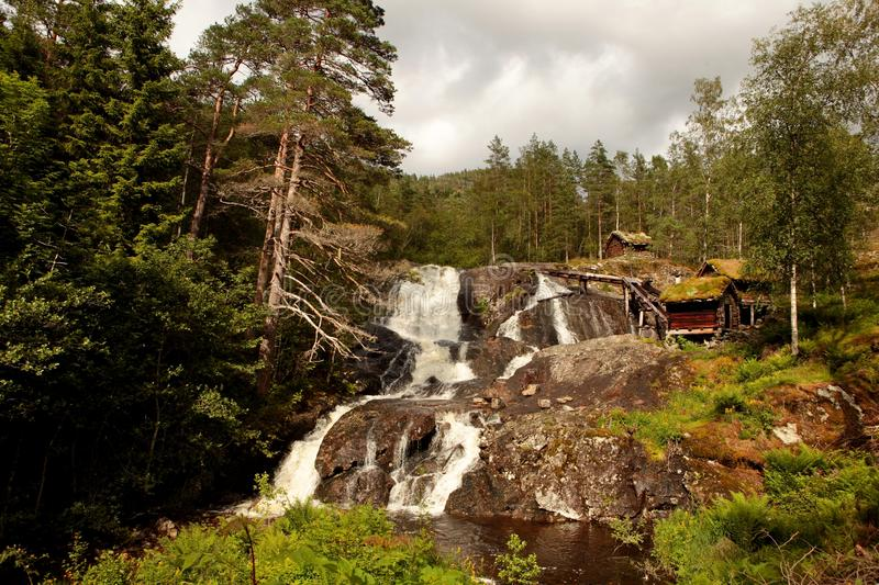 Very old watermills with grassy roofs in Norway stock photos