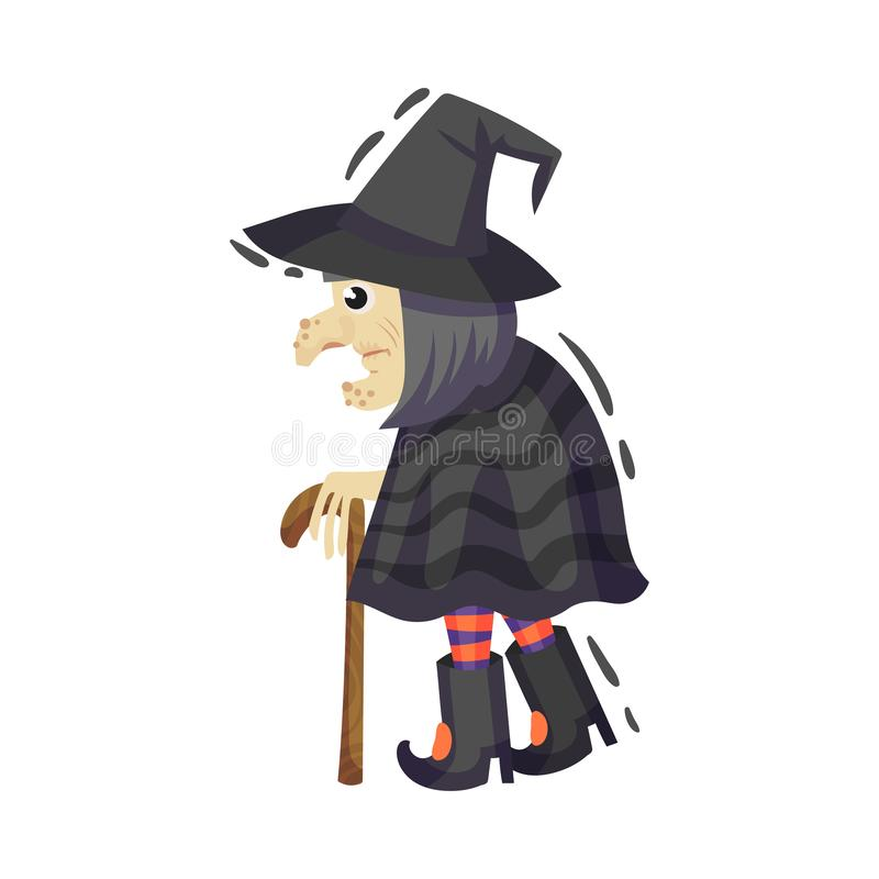 Very old witch with a cane. Vector illustration on a white background. Very old witch with a big nose and mittens comes in a black hat, raincoat and striped royalty free illustration