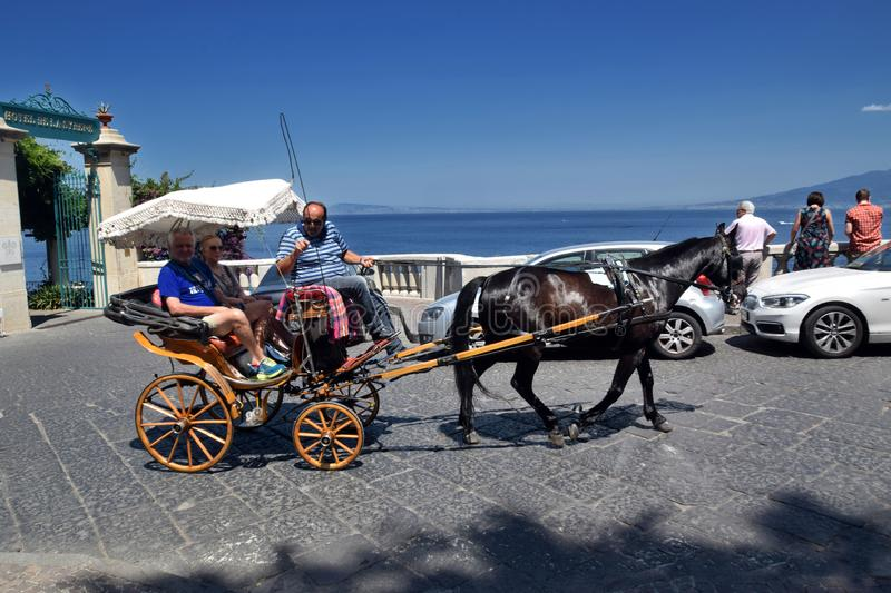 Sorrento, horse-drawn carriage. Very popular location for tourists, in carruzzella di Sorrento, ride in a wheelchair stock photo
