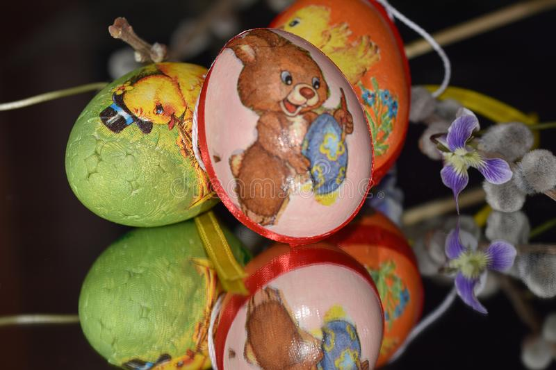 Very pretty colorful easter eggs close up stock photos