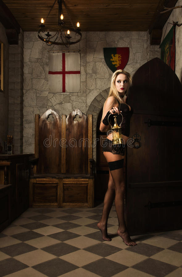 Very Pretty Woman Vamp With Lantern Stock Photos