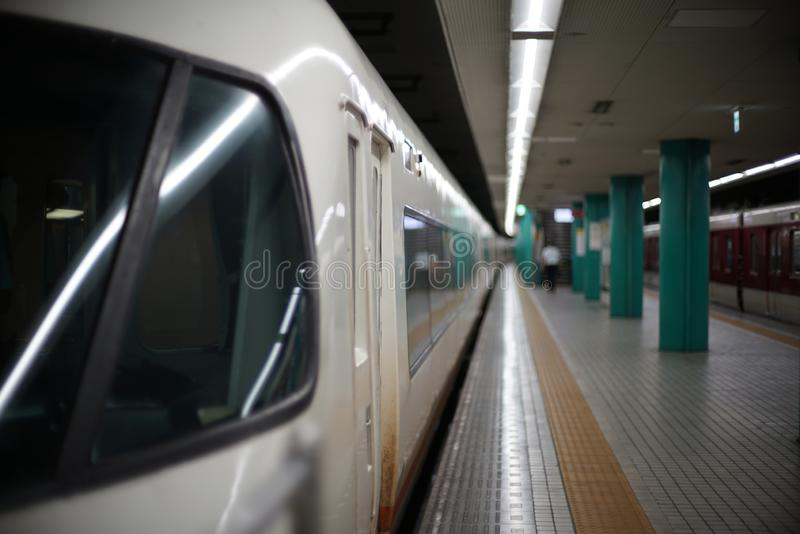 Very quiet railroad station platform in Nara prefecture, Japan stock images