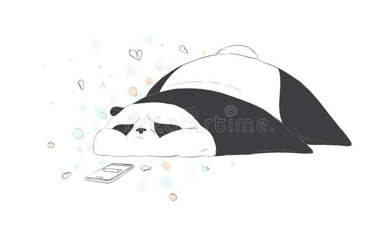 Very sad cute panda waiting sms. Social internet vector illustration royalty free illustration