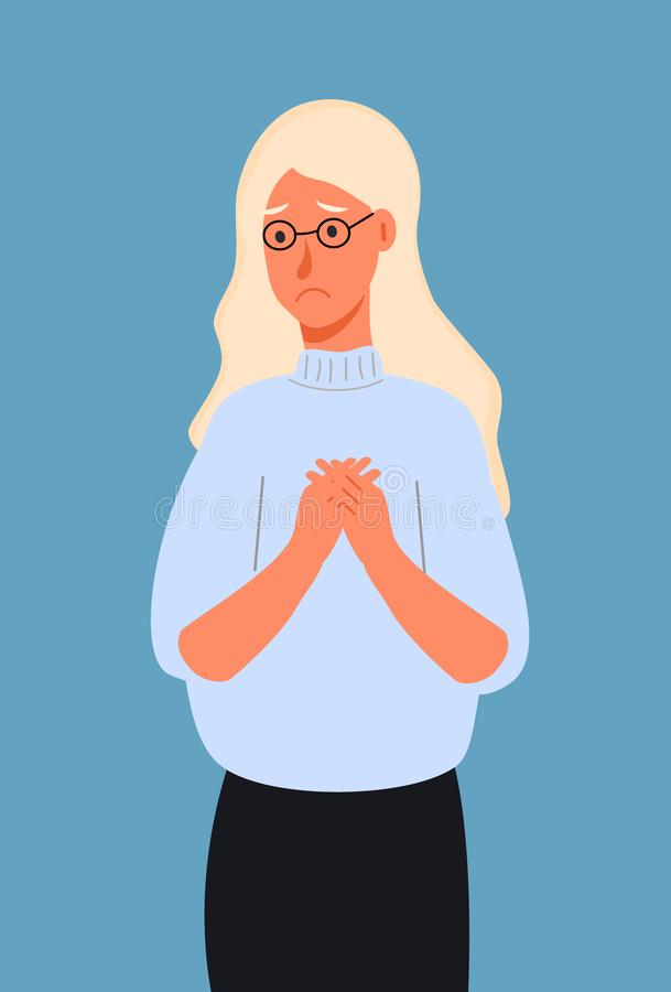 Very sad or depressed young woman. Concept of quilt, accusation, prayer, pleading,. Experiencing negative emotions, suffering, unhappy life. Flat cartoon vector royalty free illustration