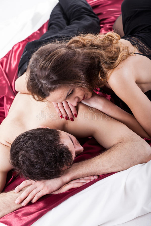 Very Couple In Bed Stock Photo
