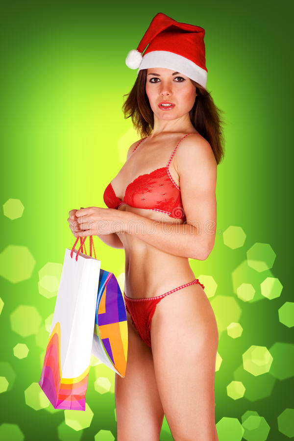 Download Very Mrs. Santa Claus Girl In Red Underwear Stock Image - Image: 11307115