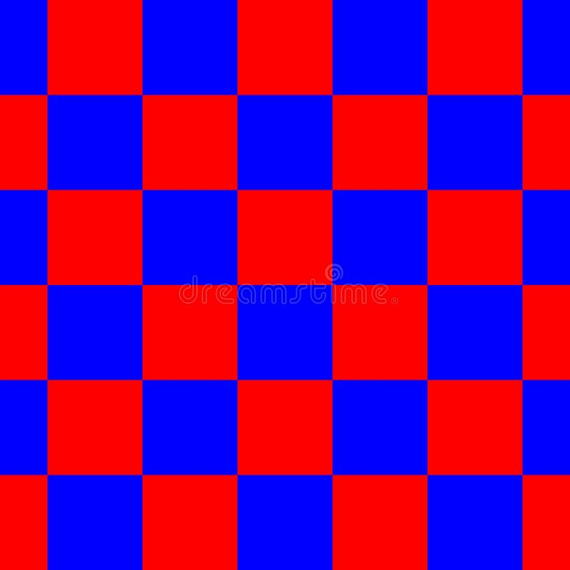 Red and Blue Checkered Seamless Repeating Pattern Background Vector Illustration stock images