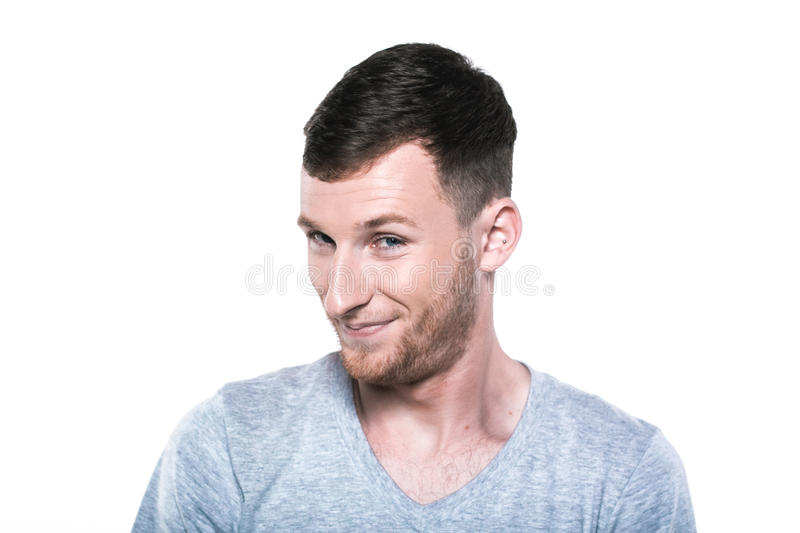 Very shy young man stock photos