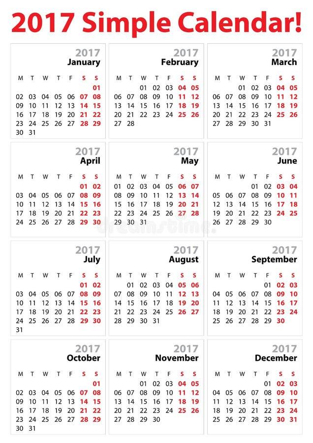 Download Very Simple 2017 Calendar Template Stock Vector - Illustration of april, black: 92040687