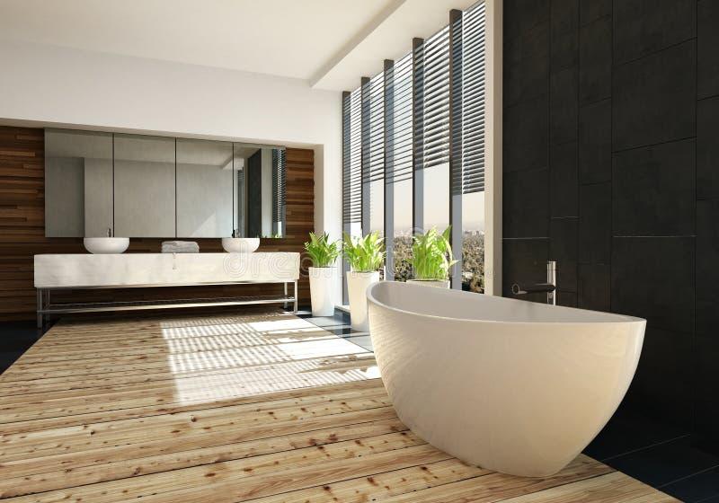 Very spacious luxury bathroom interior stock illustration