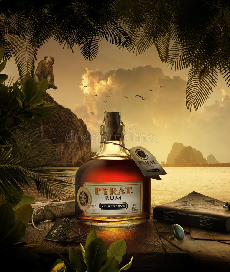 Very special amber Carribean blended rum from Anguilla Rums Ltd. in the West Indies. royalty free stock photos