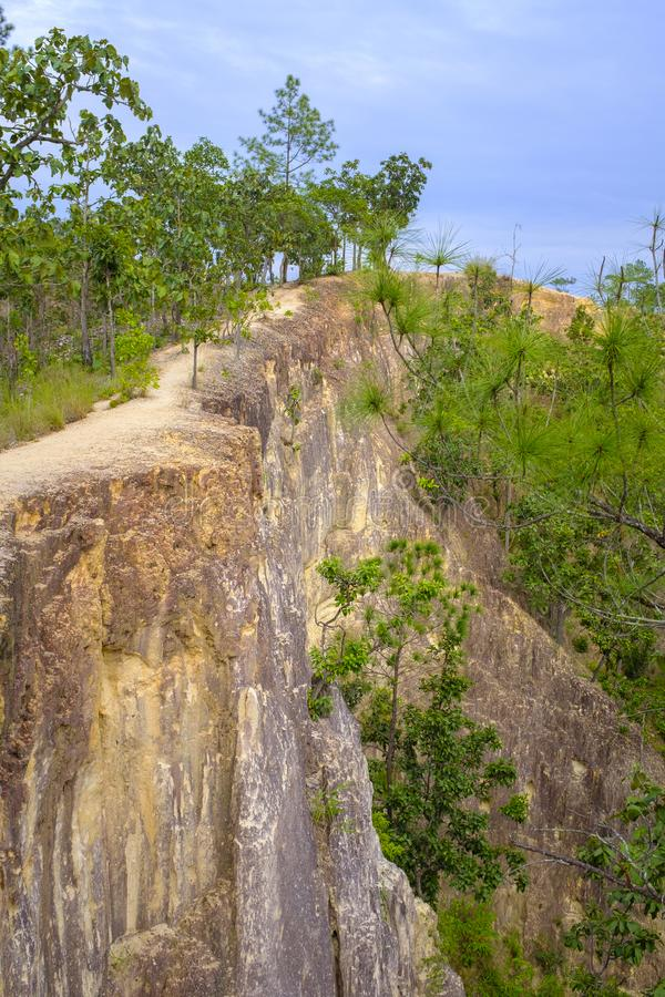 Steep cliff. Very steep cliff at the Pay Canyon near Pai, Thailand royalty free stock photography